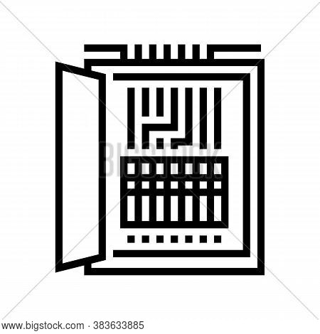 Electrical Fuses Box Line Icon Vector. Electrical Fuses Box Sign. Isolated Contour Symbol Black Illu