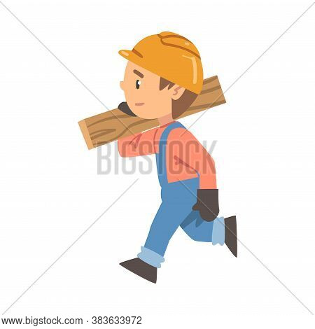 Boy Construction Worker Carrying Plank, Little Builder Character Wearing Blue Overalls And Hard Hat