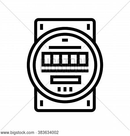 Electric Meter Line Icon Vector. Electric Meter Sign. Isolated Contour Symbol Black Illustration