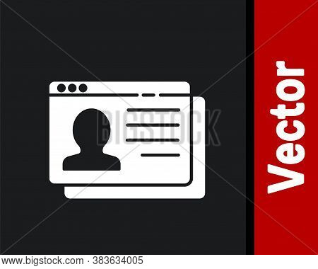 White Resume Icon Isolated On Black Background. Cv Application. Searching Professional Staff. Analyz