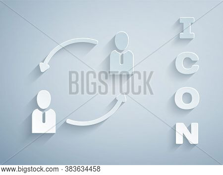 Paper Cut Human Resources Icon Isolated On Grey Background. Concept Of Human Resources Management, P