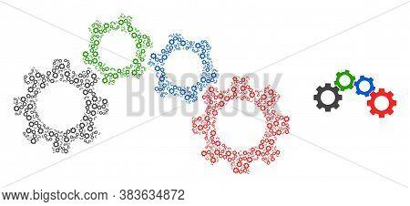 Vector Cogwheel Mechanism Collage Is Designed Of Random Recursive Cogwheel Mechanism Items. Recursiv