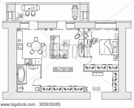Architectural Plan Of Studio Apartment With Kitchen And Bedroom. Small House Top View. Floor Plan Wi