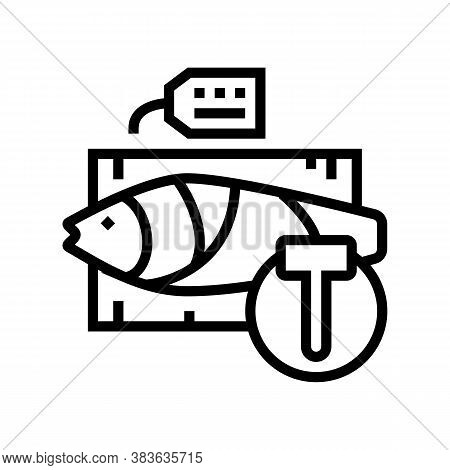 Tuna Fish Auction Rate Line Icon Vector. Tuna Fish Auction Rate Sign. Isolated Contour Symbol Black