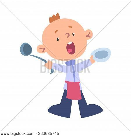 Boy Chef Cook With Ladle And Plate, Cute Child Professional Cooker Character Wearing White Hat And A