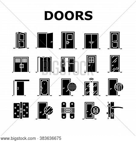 Interior Doors Types Collection Icons Set Vector. Swing, Sliding And Folding Doors, Veneer And Mediu