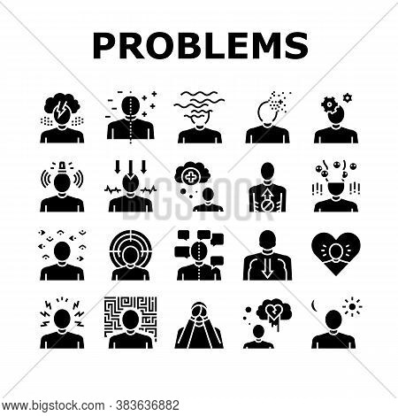 Psychological Problems Collection Icons Set Vector. Depression And Bipolar Disorder, Schizophrenia A