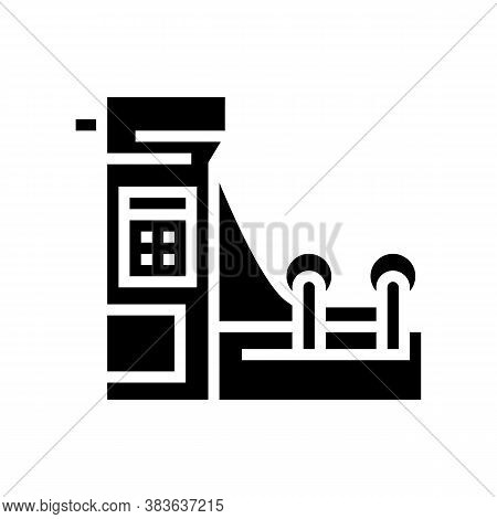 Paper Production Machine Glyph Icon Vector. Paper Production Machine Sign. Isolated Contour Symbol B