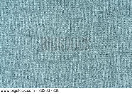 Cyan Canvas Texture Background. Rough Linen Material