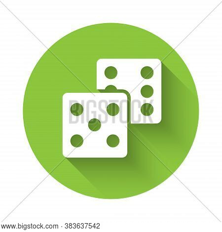 White Game Dice Icon Isolated With Long Shadow. Casino Gambling. Green Circle Button. Vector