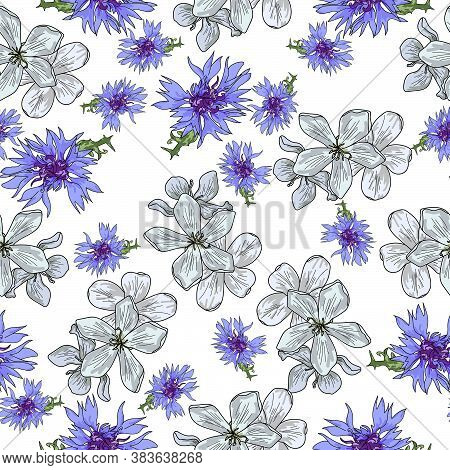 Seamless Pattern With Two Types Of Flowers Of Blue Color, Tuberosa And Cornflower Flowering Plants O