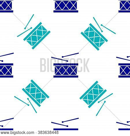 Blue Musical Instrument Drum And Drum Sticks Icon Isolated Seamless Pattern On White Background. Vec