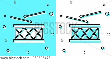 Black Line Musical Instrument Drum And Drum Sticks Icon Isolated On Green And White Background. Rand