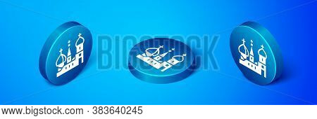 Isometric Moscow Symbol - Saint Basils Cathedral, Russia Icon Isolated On Blue Background. Blue Circ