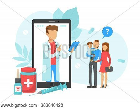 Patients Consultating With Family Male Doctor Via Smartphone, Online Doctor Consultation Technology,