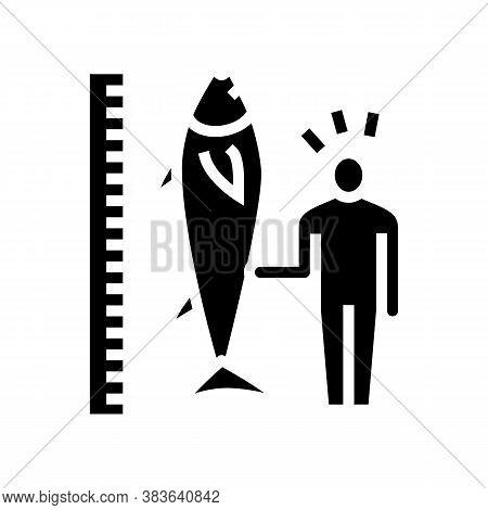 Tuna Size And Fisherman Glyph Icon Vector. Tuna Size And Fisherman Sign. Isolated Contour Symbol Bla