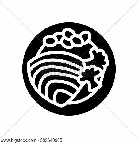 Tuna Fish Dish With Vegetables Glyph Icon Vector. Tuna Fish Dish With Vegetables Sign. Isolated Cont