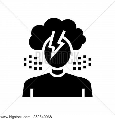 Depression Psychological Problems Glyph Icon Vector. Depression Psychological Problems Sign. Isolate