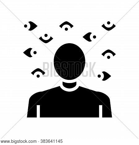 Paranoia Psychological Problems Glyph Icon Vector. Paranoia Psychological Problems Sign. Isolated Co