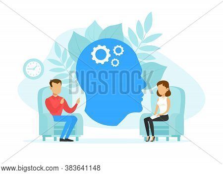 Woman Psychologist And Man Patient In Therapy Session, Psychotherapy Counseling Concept Flat Vector