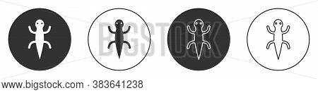 Black Lizard Icon Isolated On White Background. Circle Button. Vector