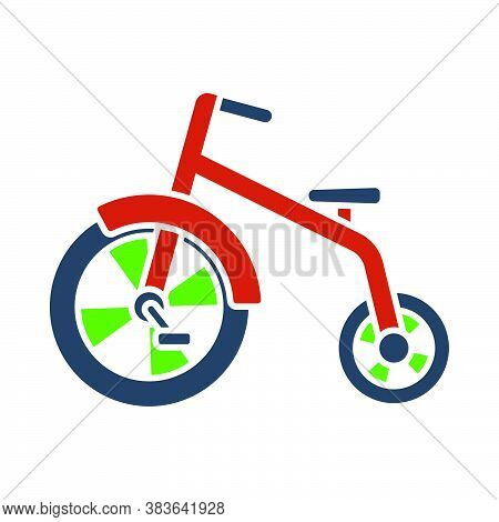 Baby Trike Icon. Flat Color Design. Vector Illustration.