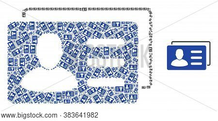 Vector User Account Cards Collage Is Done Of Repeating Recursive User Account Cards Parts. Recursive