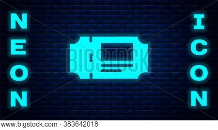Glowing Neon Museum Ticket Icon Isolated On Brick Wall Background. History Museum Ticket Coupon Even