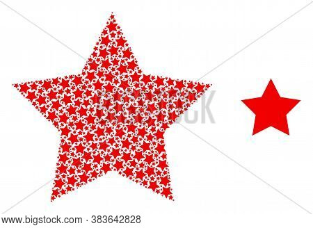 Vector Red Star Composition Is Created Of Random Recursive Red Star Parts. Recursive Mosaic From Red