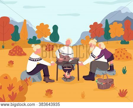 Picnic In Autumn Countryside Semi Flat Vector Illustration. Fall Woods. Holiday In Seasonal Forest.
