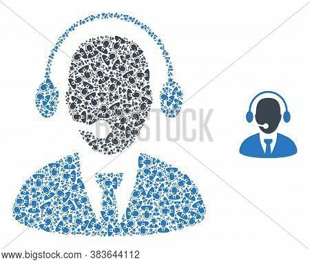 Vector Secretary Mosaic Is Formed From Random Self Secretary Pictograms. Recursive Mosaic From Secre
