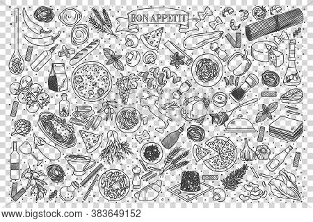 Italian Food Doodle Set. Collection Of Chalk Pencil Hand Drawn Sketches Templates Of Italy Delicious