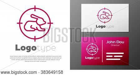 Logotype Line Hunt On Rabbit With Crosshairs Icon Isolated On White Background. Hunting Club Logo Wi