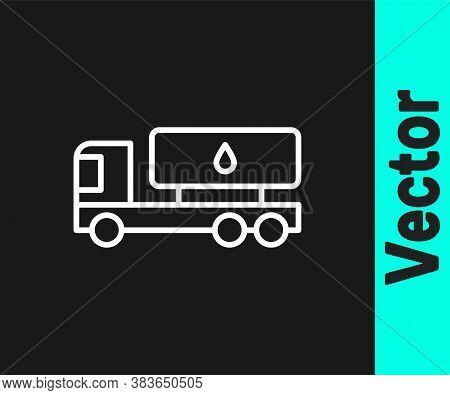 White Line Tanker Truck Icon Isolated On Black Background. Petroleum Tanker, Petrol Truck, Cistern,