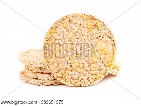 Crispbread With Chia Seeds And Salt, Isolated On White Background. Corn Crisps. Dietary Food With Lo