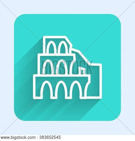 White Line Coliseum In Rome, Italy Icon Isolated With Long Shadow. Colosseum Sign. Symbol Of Ancient