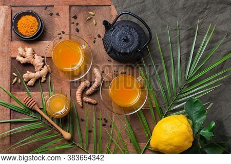 Healthy Immune System Booster, Cold And Flu Remedy. Turmeric Ginger Lemon Beverage, Anti Inflammator