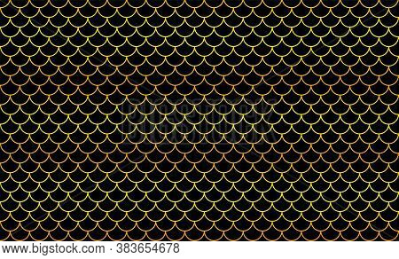 Mermaid Golden Pattern, Fish Scale Pattern Golden Art Line On Black Background, Mermaid Pattern Gold
