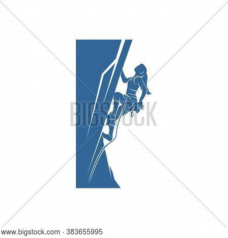 Vintage Mountain Climbing Vector Logo And Labels Set. Sport Climbing, Emblem Climbing, Hobby Climbin