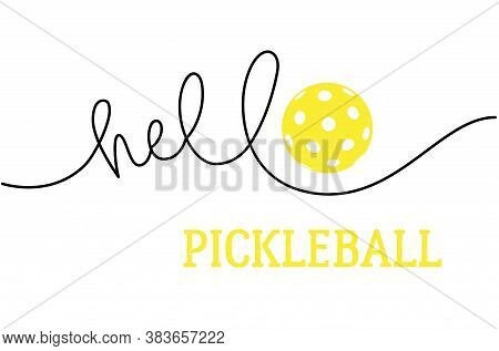 Cartoon Character Pickle Ball With Speech Bubbles. In, Out, Smash, Speen, Hello. Hand Drawn Stickers
