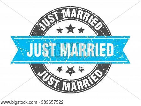 Just Married Round Stamp With Turquoise Ribbon. Just Married