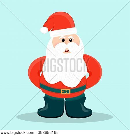 Santa Claus In A Hat With A Belt And Felt Boots Is Isolated On A Blue Background. Vector Illustratio
