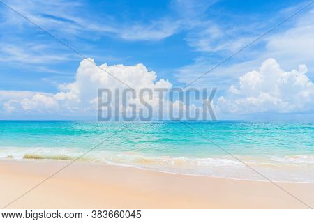 Beautiful Tropical Beach With Blue Sky And White Clouds Abstract Texture Background. Copy Space Of S