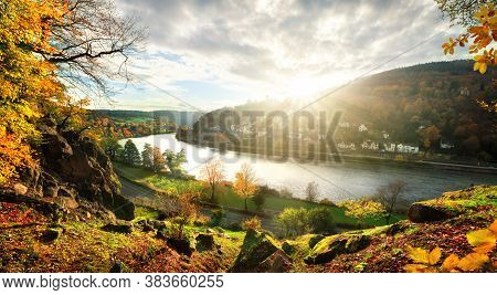 View Onto The Neckar River And Idyllic Landscape Near Heidelberg, Germany, As The Sun Is About To Se