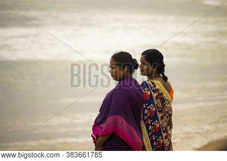 Chennai , Tamilnadu - India . September 2, 2020 . Two Tamil Women Watching The Sunrise Over Kovalam