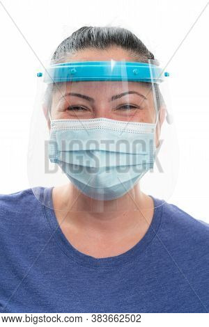 Close-up Of White Woman Eyes With Cheerful Expression Wearing Sars Covid Influenza Flu Virus Protect