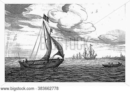 Freight Kagen, Robert de Baudous (possibly), after Jan Porcellis, 1670 - 1726 Freight Kagen on the water, vintage engraving.