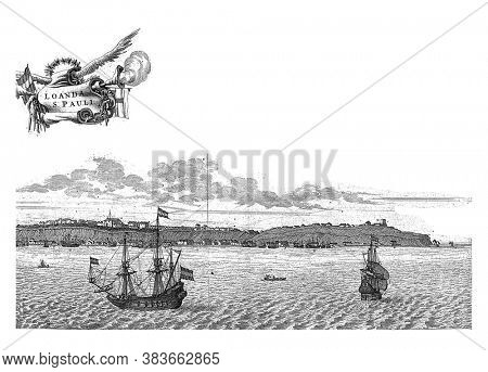 View of Luanda (Sao Paulo de Luanda) in Angola (right half), c. 1641. Right plate of a large painting printed on two plates, vintage engraving.