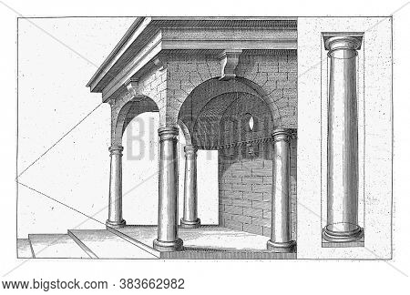 Portico with columns of the Tuscan order,  Portico with columns of the Tuscan order and a column of the Doric order, vintage engraving.