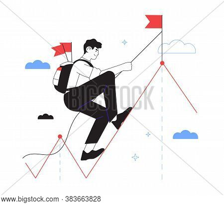 Businessman Reaches New Hights And Achievement In Business And Career. Character Climb Up Metaphoric
